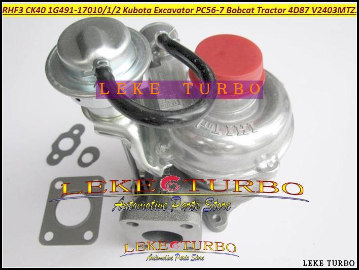 TURBO RHF3 CK40 VA410164 1G491-17011 1G491-17012 1G491-17010 Turbocharger For Kubota Excavator PC56-7 Bobcat Tractor 4D87 V2403-M-T-Z3B (1)