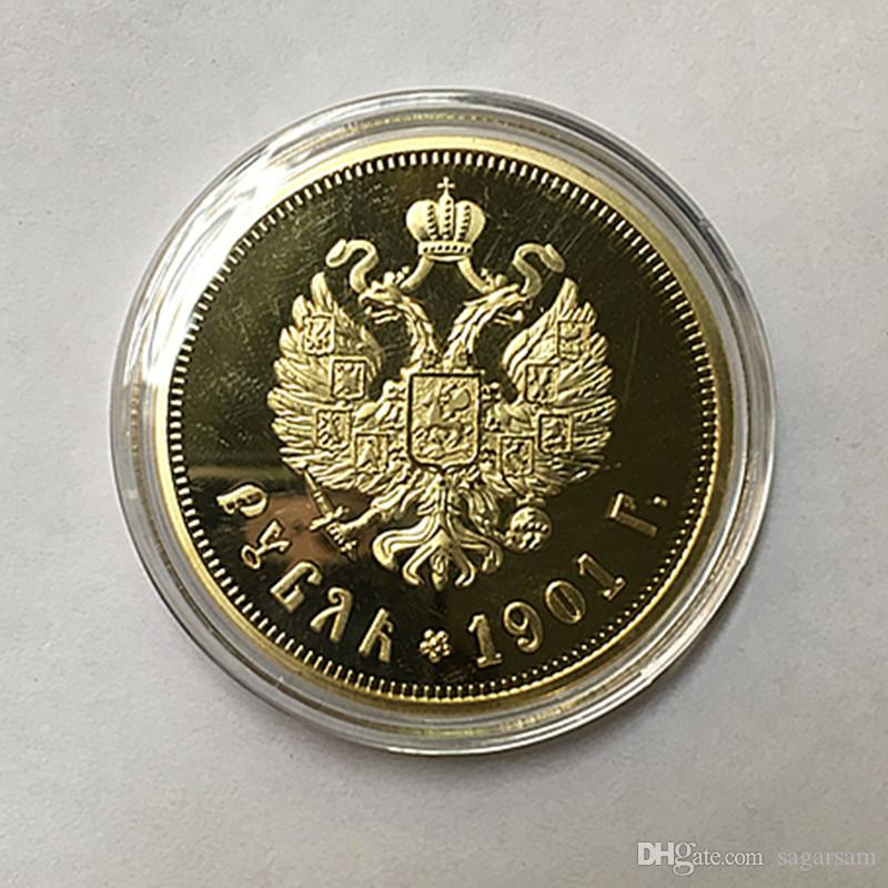 The Brand new 1901 Nicholas II of Russia coins commemorative 24K real gold plated 40 mm souvenir coin