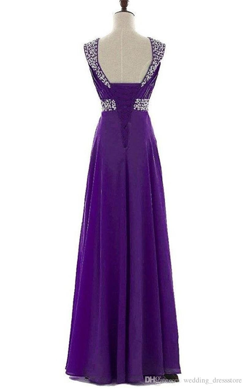 Ladies Evening Gowns 2017 Vestidos Longo Fe Festa Elegant Purple Chiffon Long Prom Dresses