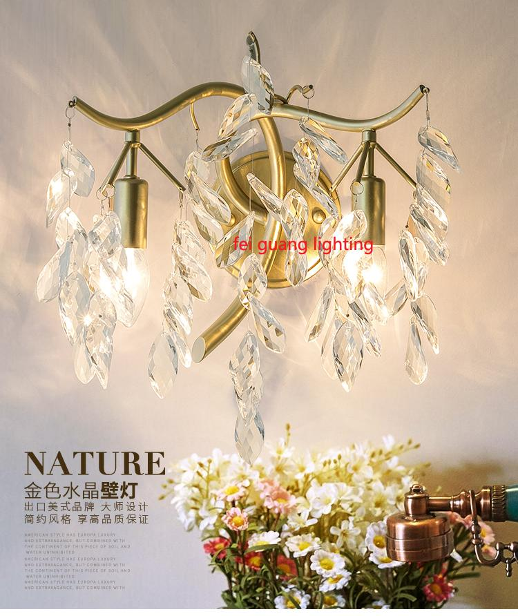 Modern bedroom bedside lamp living room TV wall LED crystal lamp aisle stair lights villa luxury high-end crystal wall lamps