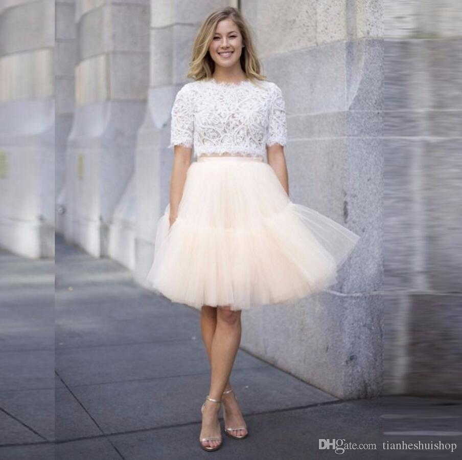 bbd529196 Elegant Ivory Pleated Tulle Skirt A Line Knee Length Skirt Custom ...