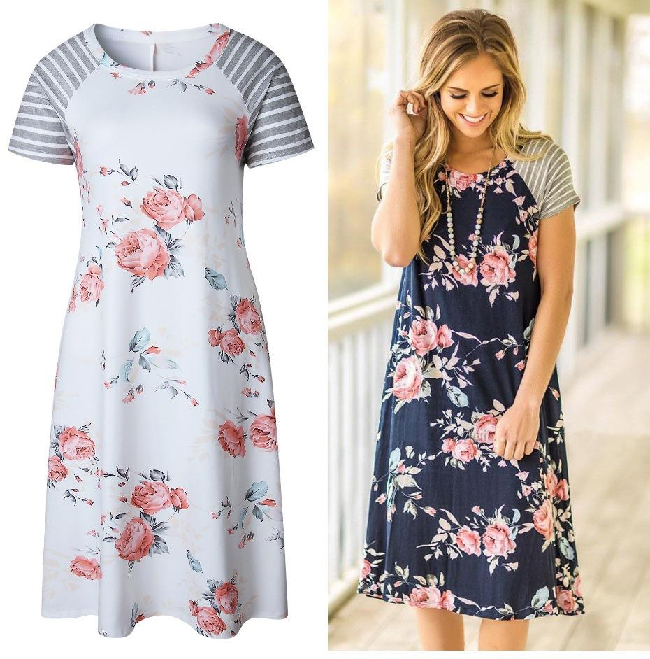Long with Short Sleeves Casual Summer Dresses