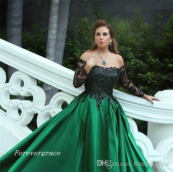 2017 Hunter Green Árabe Dubai vestido de noche barato una línea fuera de los hombros de encaje de satén largo vestido formal del partido por encargo más tamaño