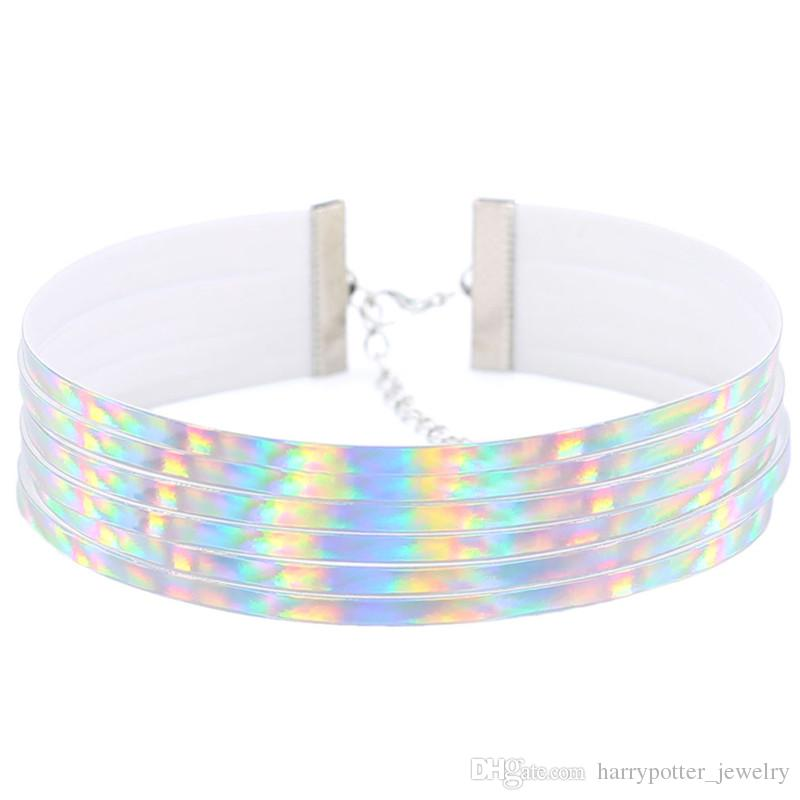 Hot Sale Statement Multiple layers PU Leather choker necklaces women Holographic Choker Laser Collares jewelry party gift drop ship 162217