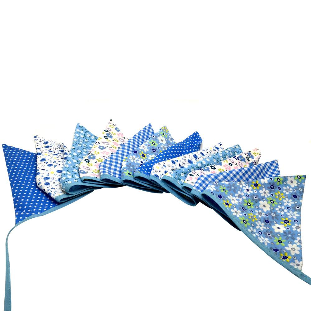 cb95be2288a6 Wholesale- 2.5M 12flags Blue Vintage Fabric Bunting Handmade ...