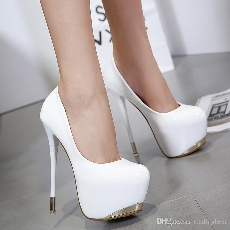 66c86fe47a51e Acheter 16 Cm Sexy Chaussures De Mariage En Cuir Verni PU Rouge Blanc Super Talon  Haut Plateforme Pompes Taille 34 À 40 De  30.92 Du Tradingbear   DHgate.