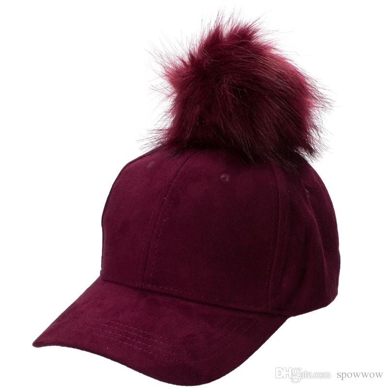 Novo e Elegante Mulheres Ajustáveis Unisex Fur Pom Pom Camurça Boné de Beisebol Das Meninas Do Hip Hop Chapéu A383