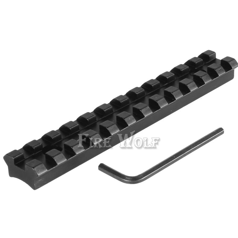 FIRE WOLF 12 Slots 124.5mm Screws Curve Rifle Scope Picatinny Round Bottom 20mm Weaver Rail Mount Base Install Scope Pistol