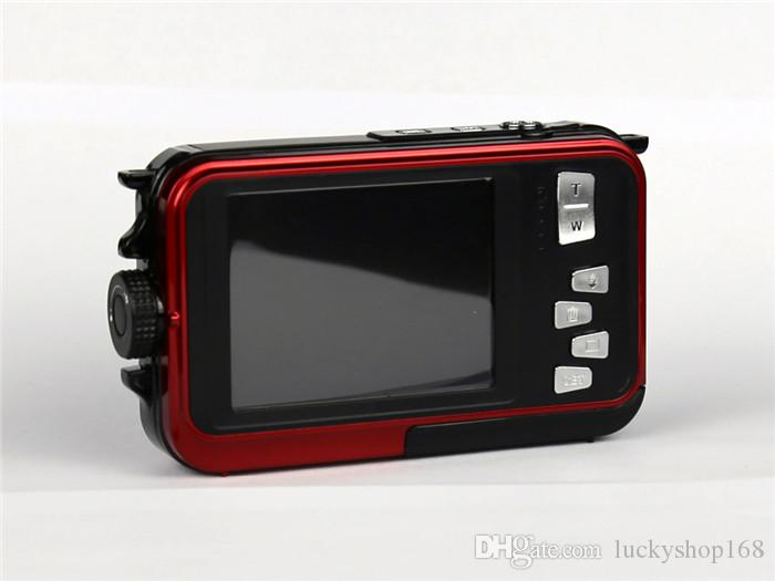 Max 24MP Çift Ekranlar Su Geçirmez Dijital Kamera 2.7 inç + 1.8 inç Ekranlar HD CMOS 16x Zoom Kamera su geçirmez Kamera