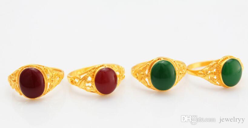 Anelli placcati oro del Rhinestone di modo dell'anello del fiore della cavità dell'annata i monili interi economici del partito della festa nuziale delle ragazze e di trasporto libero