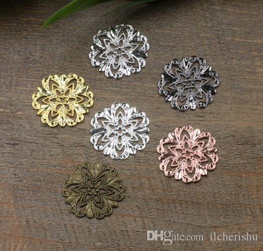 21mm antique bronze/silver/rose gold/gun black Copper filigree flower charms for jewelry making, metal trinklet bracelet pendants findings