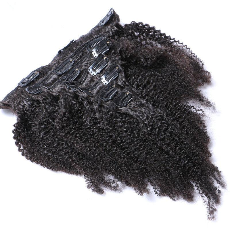 Afro Kinky Curly Clip In Human Hair Extensions Mongolian Virgin Kinky Curly Full Head Clip Ins 100g Or 120g