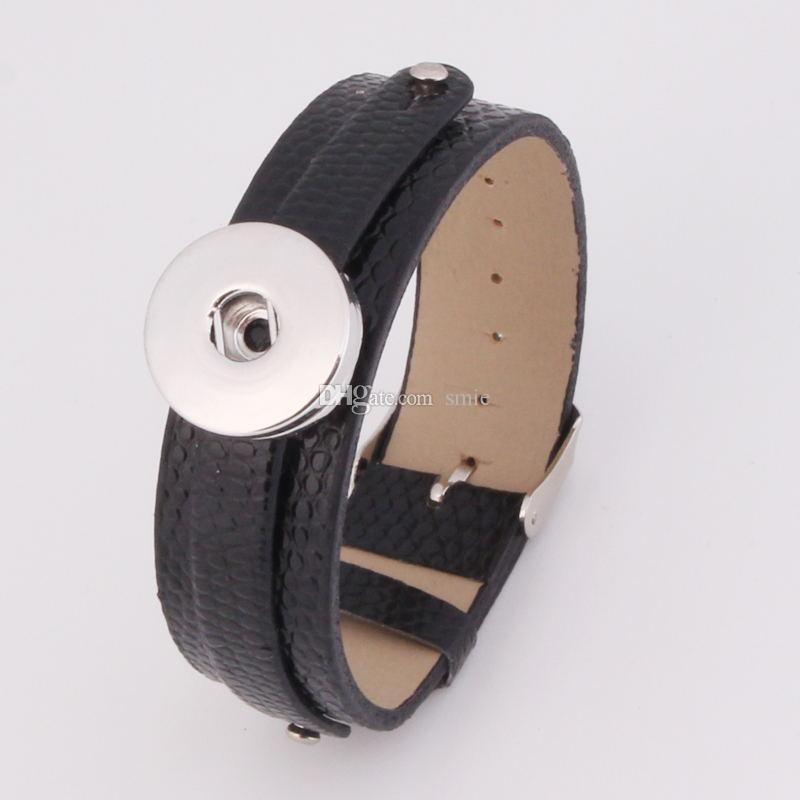 여성을위한 NOOSA 청크 진저 스냅인 단추 가죽 손목 밴드 매력 팔찌는 18mm Rivca 스냅 쥬얼리 맞추기