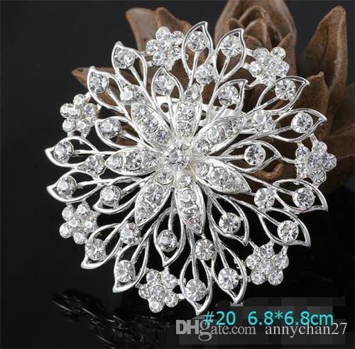 Spilla d'argento Bouquet Corpetto rotondo Fiore 20 stili Matrimonio vuoto Grande 7cm Lusso Sparkly cristallo rotondo Moda Cammeo Spille Pin DHL