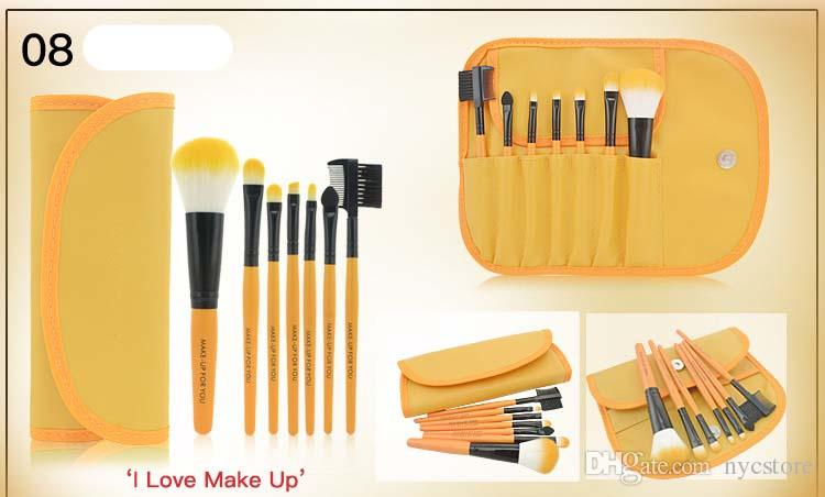 DHL FREE brand MAKE-UP FOR YOU Makeup Brush Set Pocket Portable Brush Makeup Tools Dome Blush Eyebrow Brush Lip Brush Leather Pouches