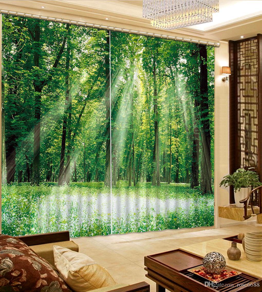 Großhandel Home Moderne Dekoration Grüner Wald Fenster Vorhang Für ...