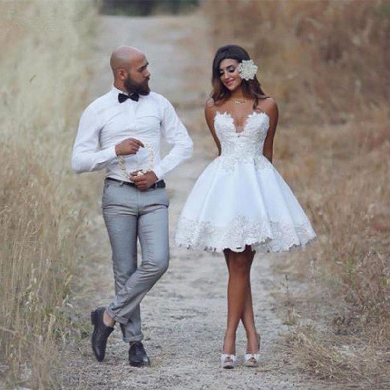 Sweetheart Short Casual Beach Lace Wedding Dress Nuevo A Line Vestidos de novia Tamaño personalizado Apliques hechos a mano Los más vendidos Moda Romántica