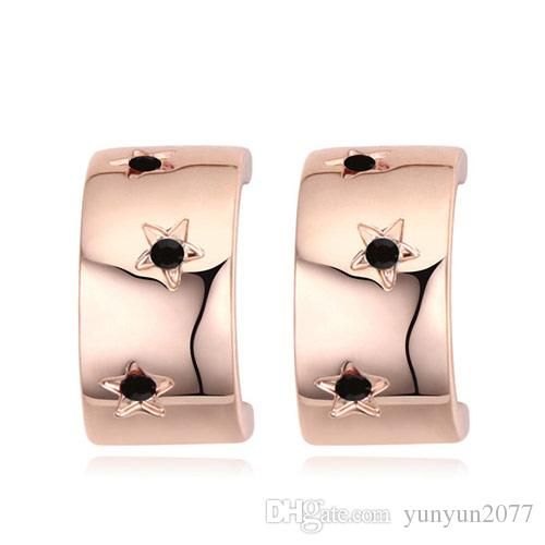High Quality Unique Designer Luxury Noble Import Austrian Crystal Real Gold Fashion Jewelry Accessories Stars Shine Stud Earrings For Women