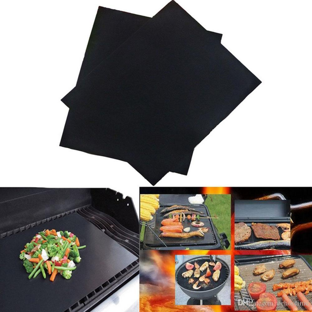 100 BBQ Grill Liner Mat 33*40cm Resuable Barbecuat Heat Resistant Grill Mat Sheet Microwave Oven Cooking Mat BBQ grill cover