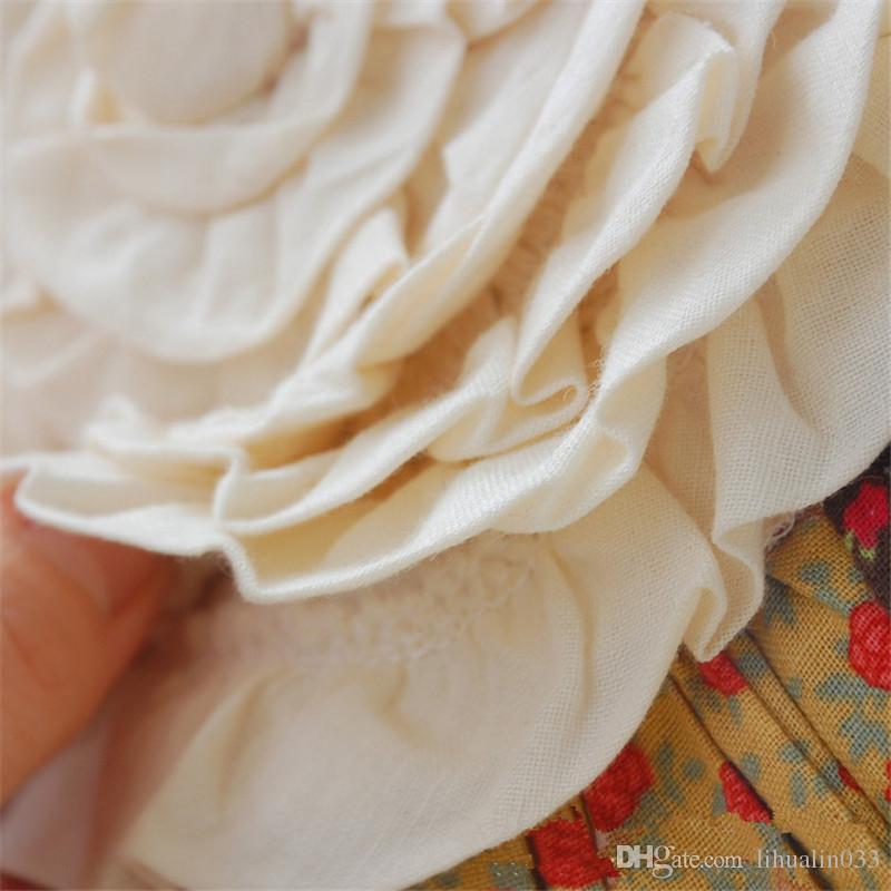 40x12 cm Forma de Calabaza Redonda Hecho A Mano Algodón Edredón Almohada Bordada Dulce Flor Sofá Silla de Coche Decoración Cojín