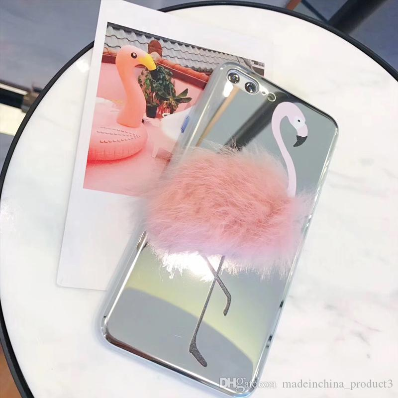 sports shoes 438cb 11cec For Iphone 8 7 Plus Mirror Case iphone 6 6s Plus Rabbit Fur Pink Flamingo  Mirror TPU Bumper Protective Back Cover