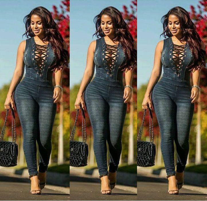 Sexy women V Neck Denim Slim Women Jeans Sleeveless Bodysuit Denim Romper Hole Jean Tank Jumpsuit