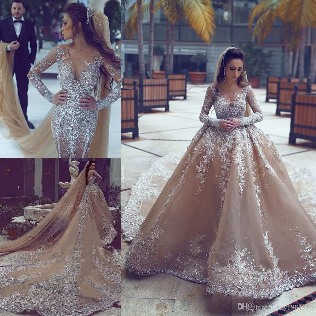 2017 luxury rhinestone dubai wedding gowns with detachable for Wedding dress in dubai