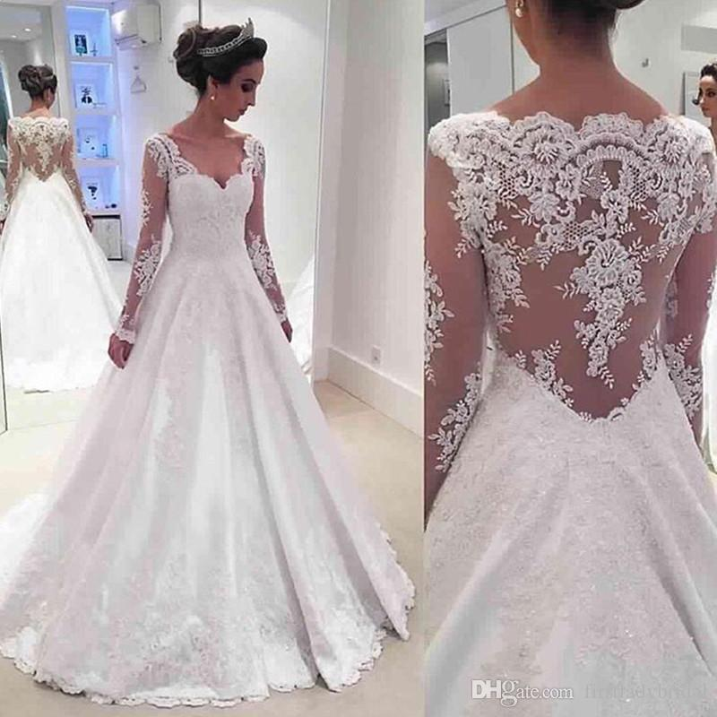 A Line Wedding Dresses.2017 Satin A Line Wedding Dresses Appliqued Lace With Long Sleeves Illusion Back Bridal Gowns Modest Vestido De Novia
