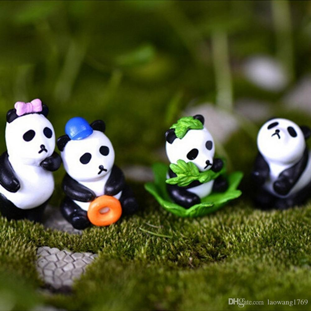 4Pcs//lot Artificial Panda Figurines Miniatures Ornament Garden Gnome Resin Decor