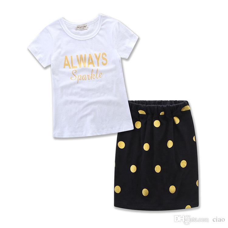 母と娘の服夏の服のドレス赤ちゃんの女の子子供のスーツの衣装の手紙の白いTシャツトップスのドットスカート子供セット着用A255