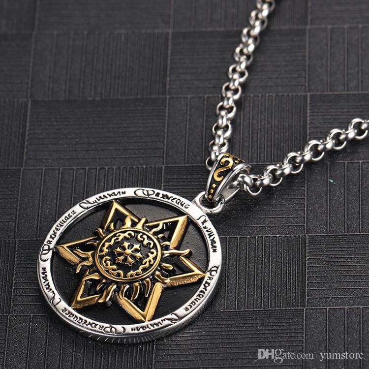 Hot Six Stars Anhänger Halskette Edelstahl Männer Anhänger Retro Stil Vergoldet Runde Anhänger Halskette Für Männer