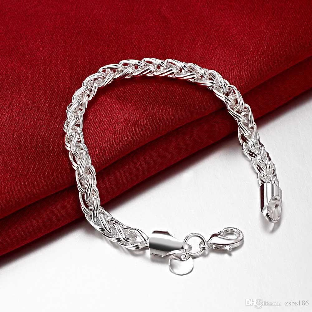 S059 Top quality 925 sterling silver necklace Twisted ring 20inches & Bracelets 8inches Fashion Jewelry Set For Men