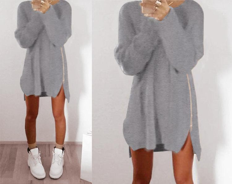 Mujeres atractivas de las señoras de invierno cremallera manga larga Jumper Tops tejida de gran tamaño Suéter holgado Casual Loose Tunic Jumpers Mini camisa de vestir ONY