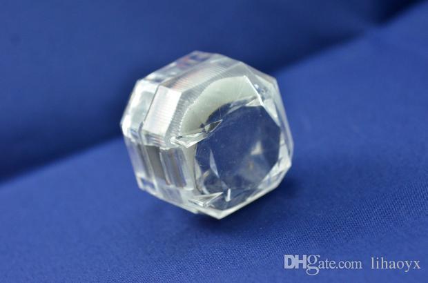 مجوهرات حزمة صناديق الدائري حامل القرط عرض مربع الاكريليك شفافة تغليف الزفاف تخزين مربع الحالات V0262