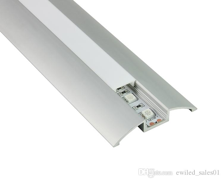 10 X 1M setsAl6063 flat type led channel strip fixture and led mounting profile for cabinet or kitchen led lamps