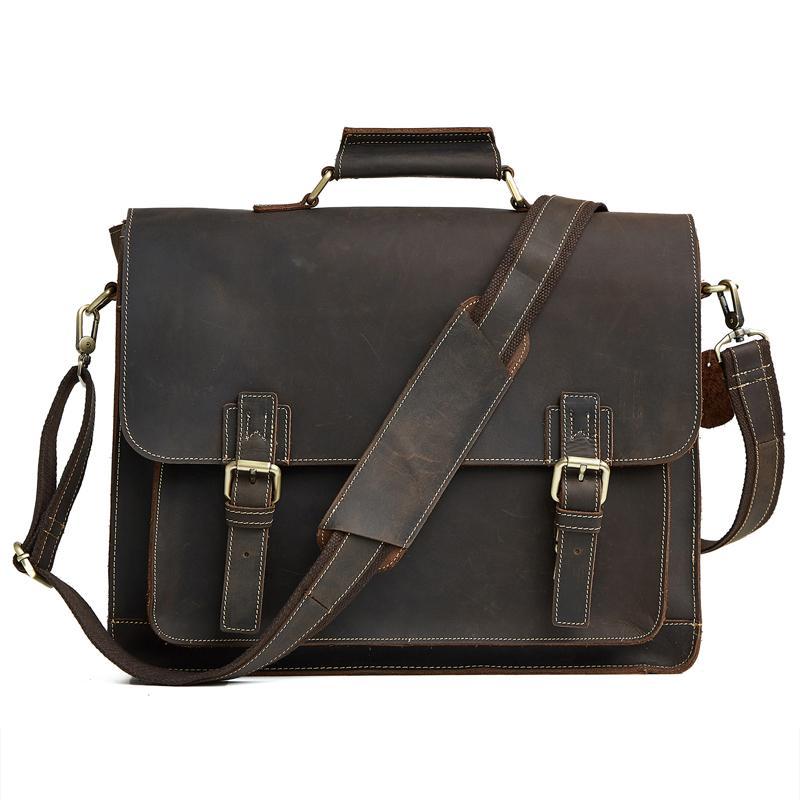 Malas de Couro Genuíno dos homens Homens Vintage Crazy Horse Couro Crossbody Sacos Grandes Bolsas Messenger Bag Bolsa de Viagem