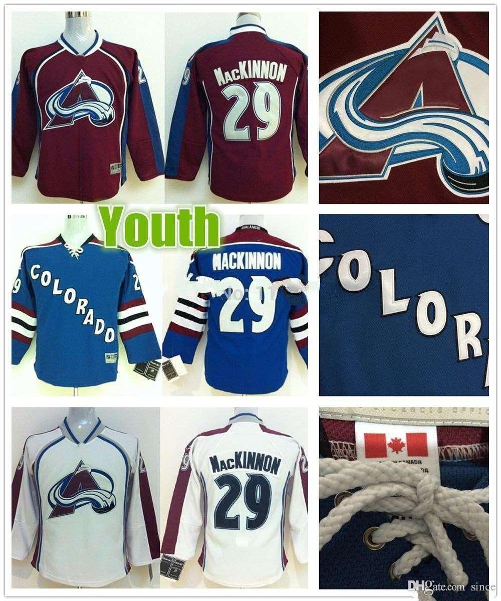 2016 New Youth Colorado Avalanche Jerseys 29 Nathan MacKinnon Jersey Youth  Home Burgundy Red Cheap Kids Nathan MacKinnon Ice Hockey Jerseys 29 Nathan  ... a313cfafd