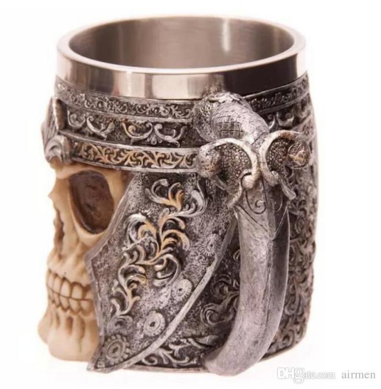 3D поразительный череп воин кружка Викинг череп пивная кружка двойная стена из нержавеющей стали готический шлем посуда сосуд персонализированные питьевой Кубок