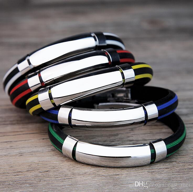 Trendy pattern silicone stainless steel bracelet light can be processed hand ring FB373 a Slap & Snap Bracelets