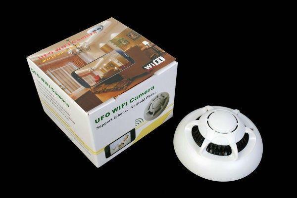 WiFi mini IP Kamera ile Duman Dedektörü HD 720 P Dadı Kam Hareket Aktif Video ve Ses Kayıt Ev Güvenlik Gözetim için UFO