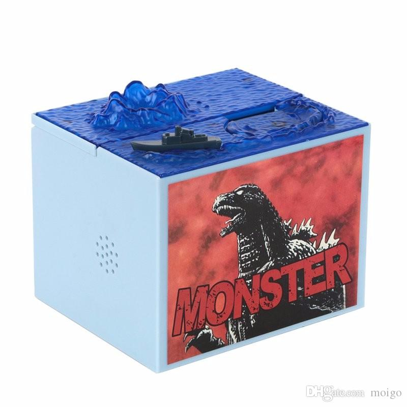 / Cute Cartoon Godzilla Movie Musical Monster Moving Electronic Coin Money Piggy Bank Box