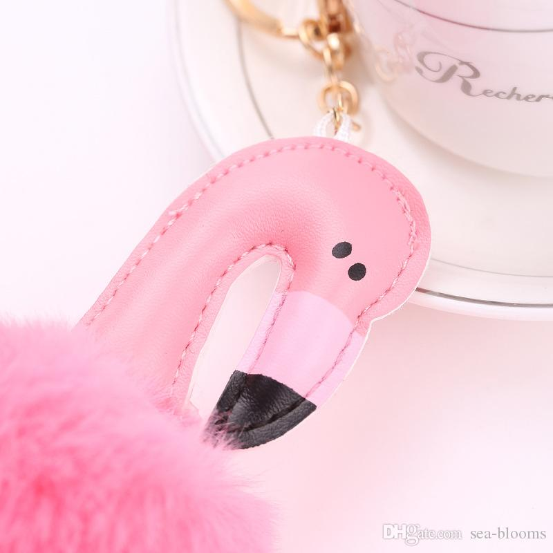 14 Stili Carino Pompon Portachiavi Flamingo Portachiavi Fluffy Bella Palla di pelo Borsa da donna donna Pompon Portachiavi Pom Pom Holder Gioielli B236S