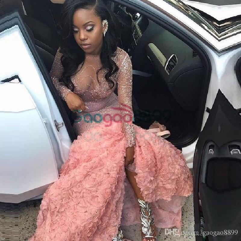 Sexy African Illusion Rose Floral Mermaid Prom Party Dresses 2017 Modest Luxury Sparkly Beaded Long Sleeve Pink Arabic Occasion Evening Gown