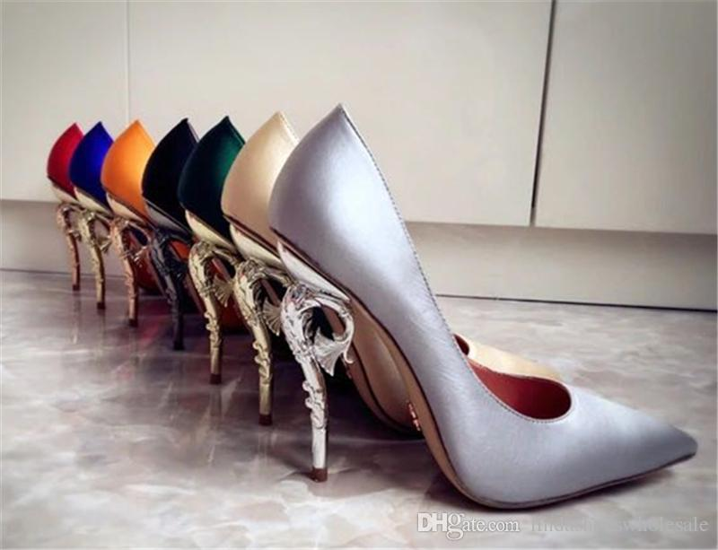 Spring Fashion Runway Metallic Decoration High Heels Stain Sexy Shallow Pumps Pointed Toe Luxury Slip-On Concise Party Wedding Shoes Woman