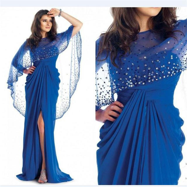 Royal Blue Evening Dresses With Shawl Chiffon Fashion 2016 Beading ...