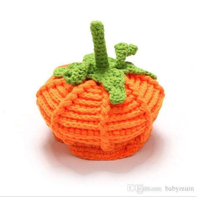 Halloween newborn Pumpkin Hat hand made Knitted Baby Bernat infant crochet hats Festival Christmas Costume props hats