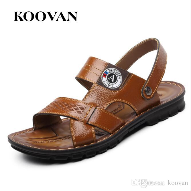 5d1276d46a8d Men Sandals Fashion Lazy Slipper Beach Slippers 2017 Koovan New Hot Sale  Spring Summer High Quality Genuine Leather Non Slip Free Ship M016 Sandals  For ...