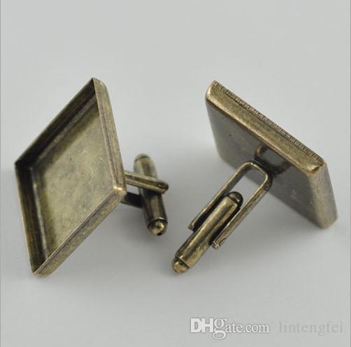 avec 18mm gros plaqué français boutons de manchette français / boutons de manchette place carrée camée lunette cabochon réglage plateau
