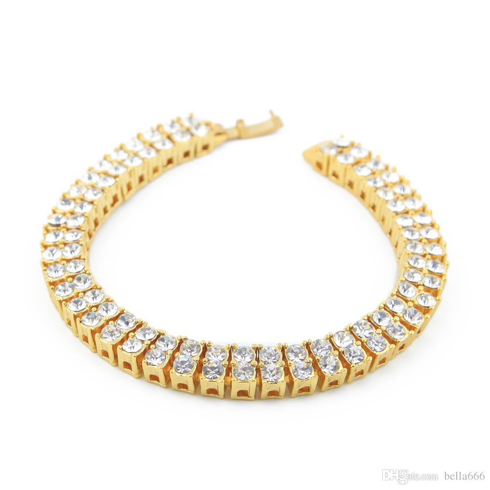 Men Zinc Alloy 2 Rows RhineStone Necklace Bracelet Hip Hop Chain Bling Rock Punk Jewelry Set