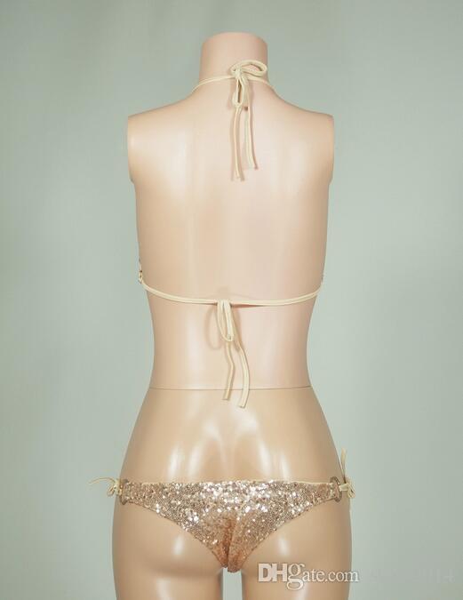 Nuovo arrivo sexy oro lucido verde argento paillettes bikini perizoma set costume da bagno da bagno donna costumi da bagno plus size donne